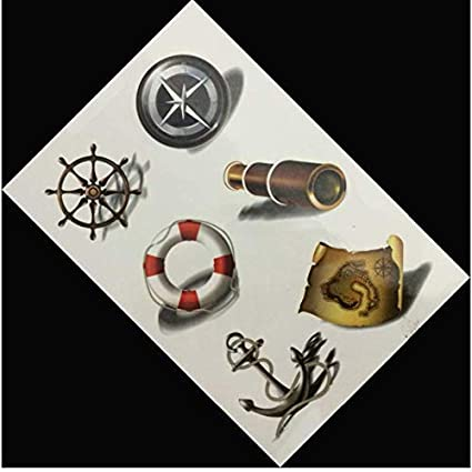 ruofengpuzi Adesivo tatuaggioPatrón de Color de la Bandera Pirata ...