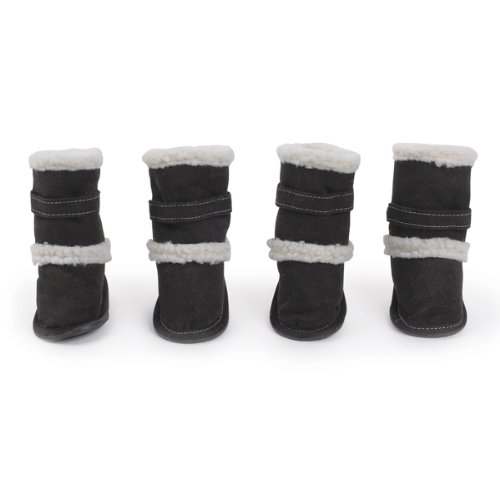 Boots East Collection Side - East Side Collection Polyester Classic Sherpa Dog Boot with Rubber Sole, XX-Large, Black