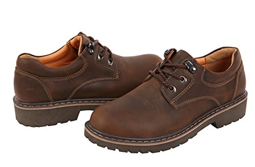 Serene Mens Cashion Round Toe Lace-up Leather Ankle Boots Oxfords Outdoor Shoes (11.5 B(M)US, brown-2)