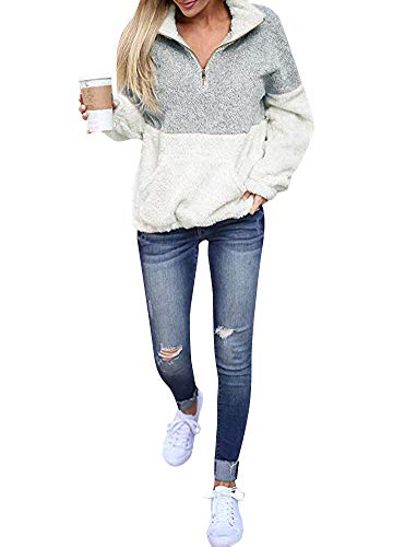 Warm Mujeres Outwear Fleeces Las Hoodies Sweatshirt Casual Turtleneck Romacci Fluffy Grey Contraste Color Light Pullovers Tops qFTxBna