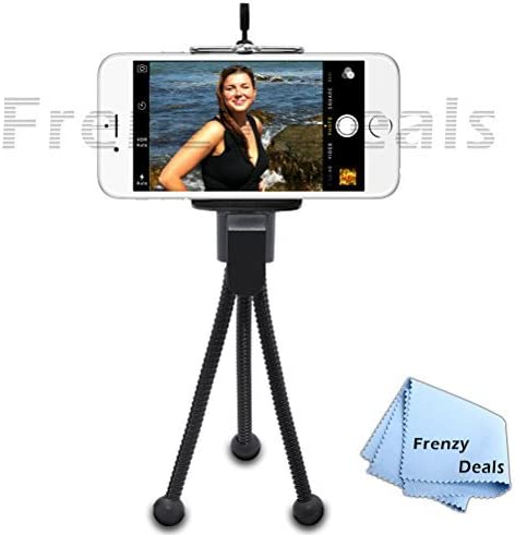 """Phablets 5/"""" Inch Mini Tripod with Flex Spider Legs for All Smartphones Small Cameras+ Frenzy Deals Microfiber Cloth"""
