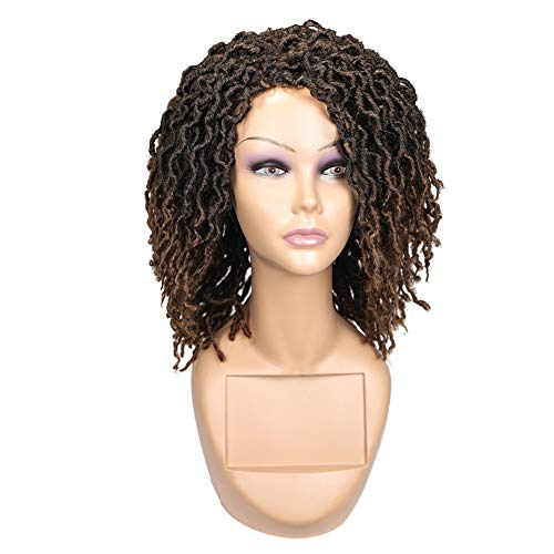 FAVE Dreadlock Wig for Black Women Short Curly Twisted Braided Dreadlock Wig Synthetic Hair Nu Faux locs Afro Dreadlock…