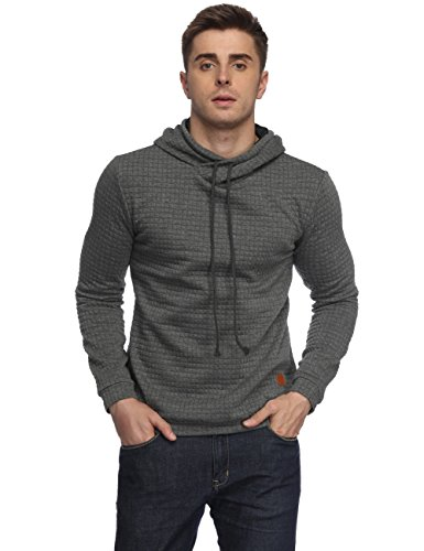 Quilted Frog (HEQU Men's Casual Funnel Neck Square Pattern Quilted Hoodie Pullover Sweatshirt Grey XL)