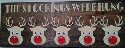 Stockings were hung with 5 Reindeer, Dark Walnut