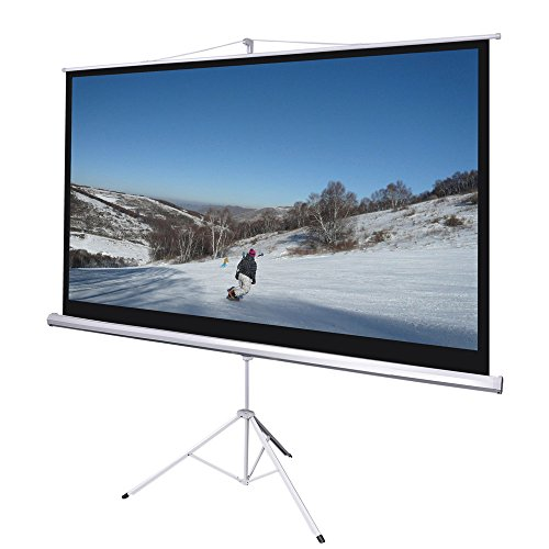 """Yescom 100"""" 16:9 HD Manual Pull Down Projector Screen Foldable Tripod Stand 87x49 Matte White"""