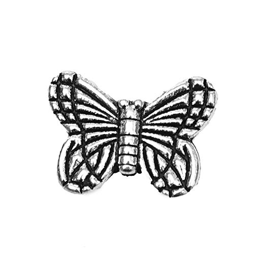Monrocco 200Pcs Tibetan Alloy Butterfly Spacer Beads Metal Spacers Charms for Bracelet Necklace Jewelry Making,Antique Silver