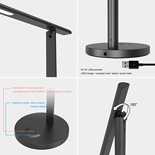 Mostorlit 6W LED Desk Lamp, Eye Caring USB Powered Table Lamps for Dorm Study Office Bedroom, Dimmable and Adjustable Reading Light with Color Temperature Change