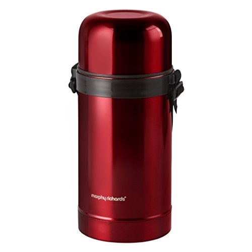 Morphy Richards Vacuum Food Flask, 1000ml, Stainless-Steel, Red, 10.5 x 10.5 x 24.5 cm 970367