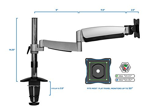 MountIt Height Adjustable Monitor Stand Desk Mount for LCD
