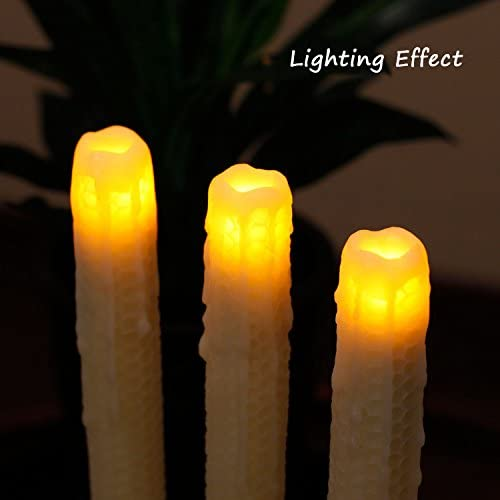 12,Ivory 12 Home impressions JA13091 Pack of 2 simplux DFL Honeycomb Pattern Dripped Flameless Real Wax Taper Candle