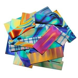 Dichoric Glass - 1/2 Lb Dichromagic Tie Dye Pattern Scrap On Black - 96 Coe