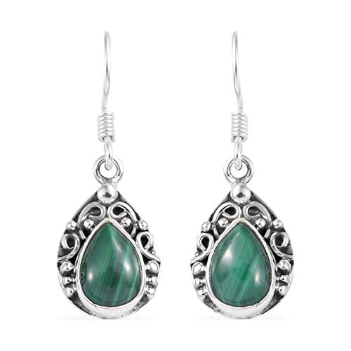 (925 Sterling Silver Pear Malachite Dangle Drop Earrings Vintage Tribal Jewelry Gift for Women)