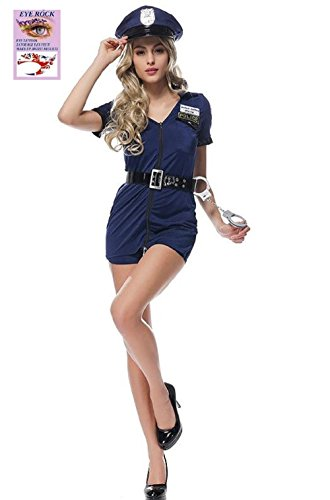 Leading Ladies Costumes (SakuraZen Woman Costume Party (Sexy Cop Uniform Blue&Black) Attractive Eye Tattoo Gift,Free Size (Blue))