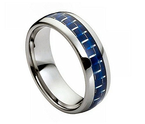 8mm - Man or Ladies - Tungsten Carbide High polish With Blue Carbon fiber Inlay Wedding Band Ring (Inlay Wedding Tungsten Band)