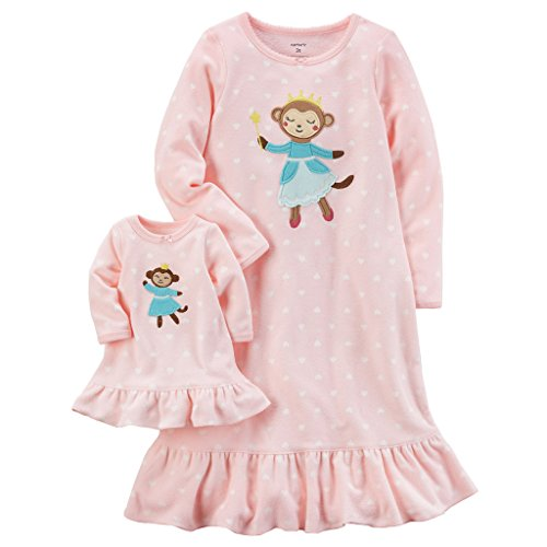 Carters Girls Microfleece Nightgown and Doll Gown Pink Monkey 3T (Treasures Yuletide)