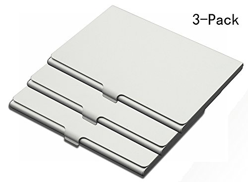Aluminum Business Card Holder - Slim Professional Business Card Holder Case, Super Light Aluminum Business Card Holder for Men and Women,Card Wallet for Travel and Work ,3 Pack (Silver)
