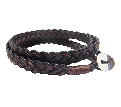 NA RIN Bracelet Men Women Classic Thai Boxing Outdoor Cotton String 3 Wrap Brown Adjuastable