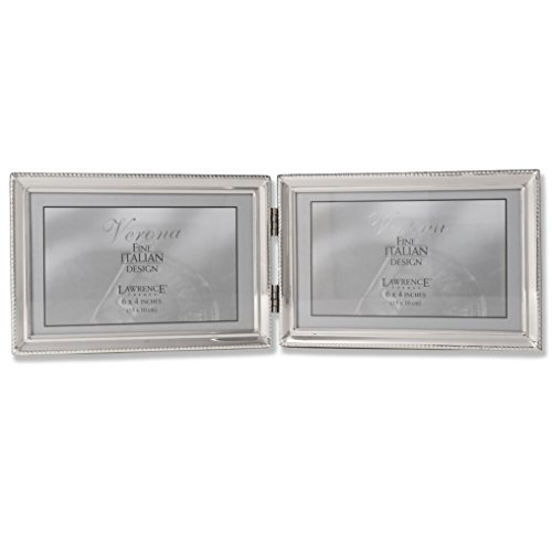 Lawrence Frames Polished Silver Plate 4x6 Hinged Double