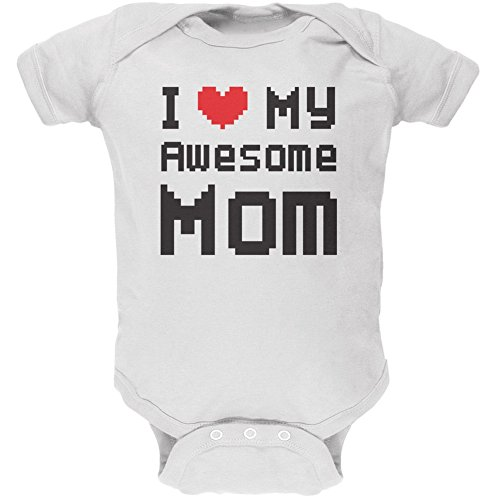 Price comparison product image Mother's Day - I Heart My Awesome Mom 8 Bit Pixel White Soft Baby One Piece - 0-3 Months