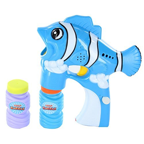 LilPals SOLID BLUE BUBBLE GUN SHOOTER – FELY THE FISH BLASTER, WITH LIGHT AND SOUNDS WITH BUBBLE SOLUTION INCLUDED FOR KIDS 3 & UP - KEEP YOUR KIDS ACTIVE WITH (Three Modeled Light)