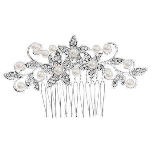 handmadejewelrylady Vintage Flor de cristal para novia boda tocado peine accesorios para el pelo tiara