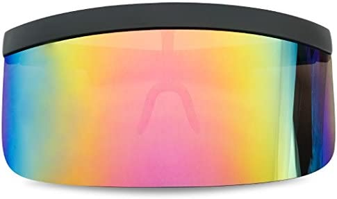 Extra Large Mask Cover Shield Visor Style Sunglasses W//Flash Mirrored Mono Lens
