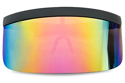 Extra Large Mask Cover Shield Visor Style Sunglasses W/Flash Mirrored Mono Lens (Matte Black, Fire Red Mirror)