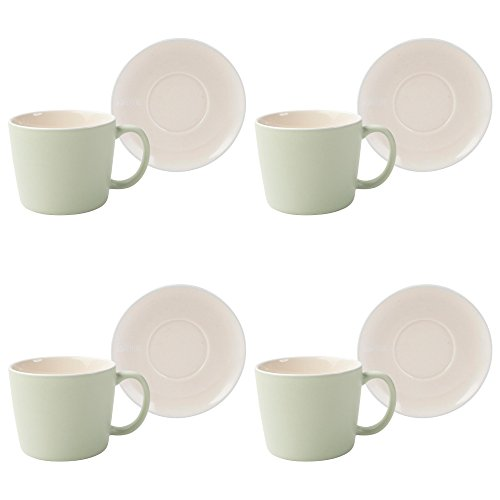 (La Cafeti猫re Barcelona Ceramic Coffee Cups and Saucers, 300 ml - Pistachio Green (8-Piece Set))