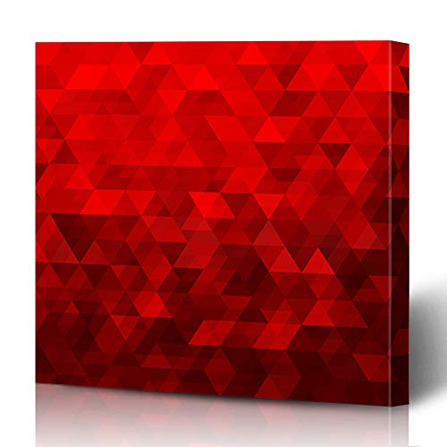 (Ahawoso Canvas Prints Wall Art 12x16 Inches Red Polygon Abstract Geometric Spectrum Triangle Pattern Mosaic Blank Bright Brilliant Decor for Living Room Office Bedroom)