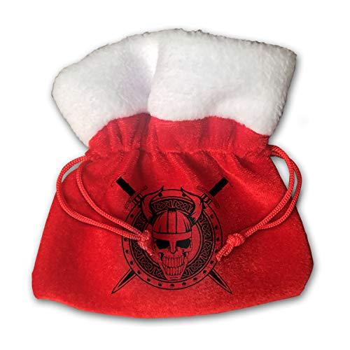 CYINO Personalized Santa Sack,Skull Swords Portable Christmas Drawstring Gift Bag (Red)