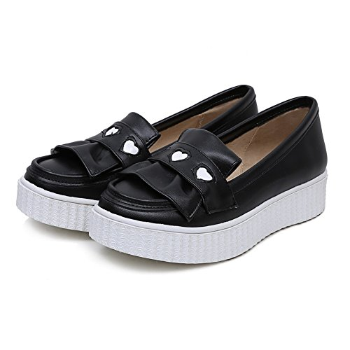 Toe Shoes WeiPoot Closed Black Low Assorted Color Heels Pu Pumps Women's HnU0Hwqz