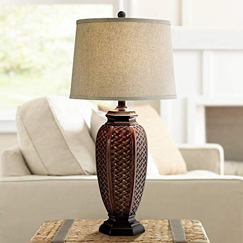 Tropical Table Lamp Woven Wicker Pattern Beige Linen Drum Shade