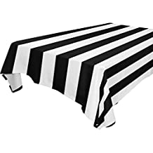 Yuihome Single Face Stripe Polyester Tablecloths 60 x 120 Inches Rectangle & Oblong Black White Table Top Decoration