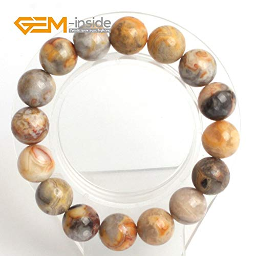 (Zozu Gem-inside 7.5inch Natural Yellow Crazy Lace Onyx Carnelian Beads DIY Bracelets For Women Gift Trinket Men Bangle Birthday Gift (Yellow Crazy)