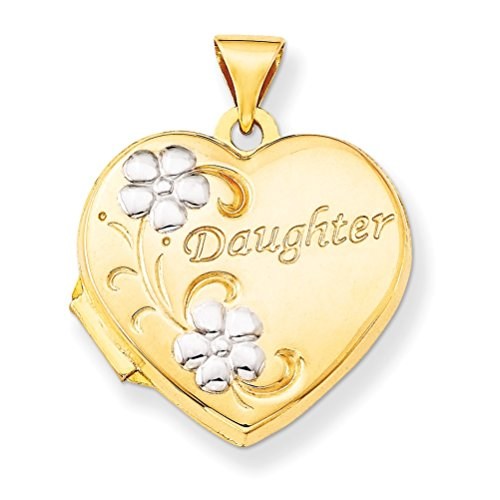 14k Yellow Gold and Rhodium 'Daughter' Heart Locket by The Men's Jewelry Store (for HER)