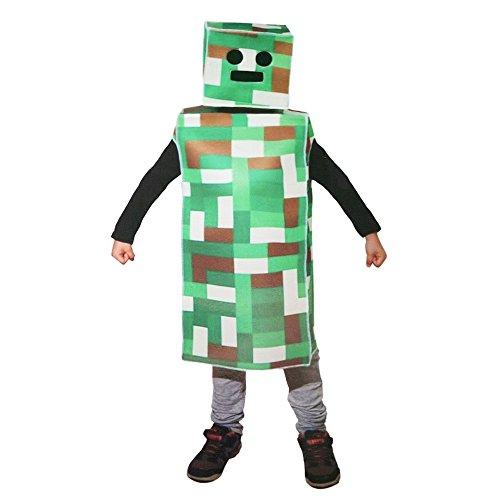 green pixel robot monster child costume large