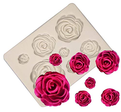 7-Cavity Rose Collection Fondant Candy Silicone Mold for Sugarcraft Cake Decoration, Cupcake Topper, Polymer Clay, Soap Wax Making Crafting Projects
