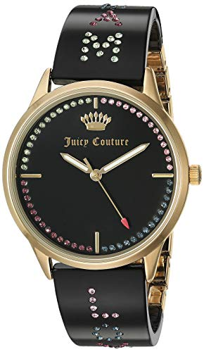 Juicy Couture Black Label Women's JC/1084GPBK Swarovski Crystal Accented Gold-Tone and Black Resin Bangle Watch ()