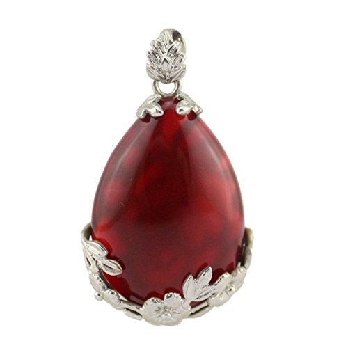 MIKINI Handmade Engraved Flower Angel Teardrop Crystal Pendant Necklace (Red (Agate Teardrop Pendant)