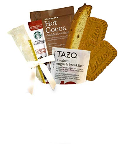 Starbucks Coffee, Hot Cocoa, and Tea Boxed Set Featuring Starbucks Via Coffee, Starbucks Hot Cocoa, Tazo Tea, Nonni's Biscotti Biscoff Cookies Mug for Men Women Business Get Well Soon -
