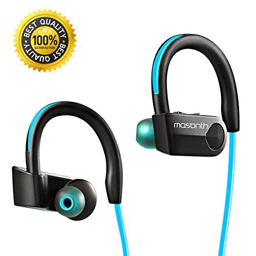 Mosonth K98 Bluetooth Headphones Wireless Sports Earphones with Mic In-ear Noise Cancelling Soft Ear Hooks HD Stereo Waterproof for Gym&Running (Blue-Black)
