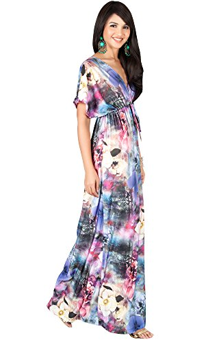 KOH KOH Womens Long Kimono Short Sleeve V-Neck Floral Summer Flowy Maxi Dress