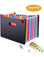 Upgrade Expanding File Organiser, KABB 24 Pocket A4 Document Folder, Multicolor Portable Flexible Accordion File Folder High Capacity Document Holder for Business/Office/Study