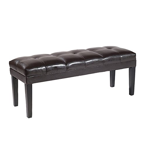 Armen Living Howard Bench in Brown Bonded Leather and Black Wood Finish