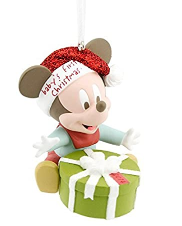 Amazon.com: Disney Hallmark Mickey Mouse Baby's First Christmas ...