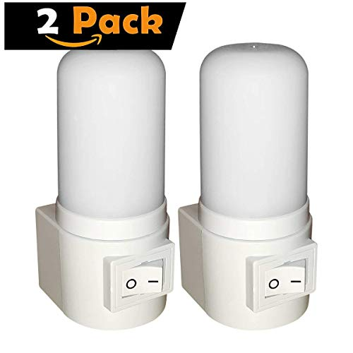 Maximm LED Manual On/Off Plug-in Night Light, Bright White, [2 Pack], Indoor Light Bathroom, Hallway, Stairs, Pantry, Laundry Room and Walk-in Closet Compact and Energy Efficient