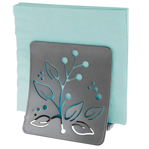 mDesign Decorative Metal Paper Napkin Holder for Kitchen Countertop, Dinner Table, Picnic - Decorative Floral Design - Indoor & Outdoor Use, Storage and Organization for Multiple Sizes - Graphite Gray ()