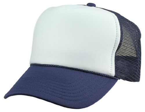 - DALIX Blank Hat 5 Panel Summer Mesh Youth Cap in Navy Blue and White