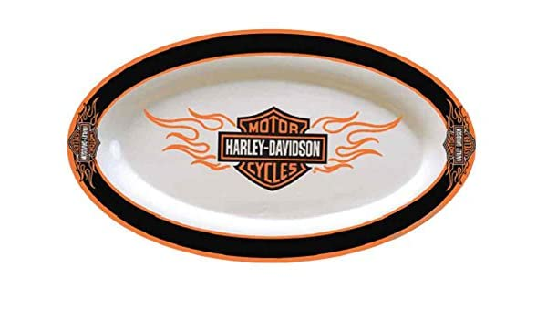 Amazon.com | Harley-Davidson Flaming Bar u0026 Shield Ceramic Platter White HD-FLM-587 Platters  sc 1 st  Amazon.com & Amazon.com | Harley-Davidson Flaming Bar u0026 Shield Ceramic Platter ...