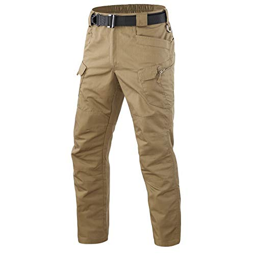Men's Tactical Pants Combat Camo Military Airsoft Army Quick Dry Trousers Casual Pants I7 (Khaki, 34W/30L)